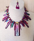 Image of Dichroic glass pendant and spikes, brass, and shell set