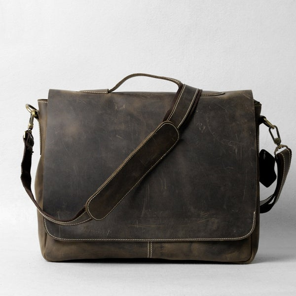 """Image of Vintage Handmade Antique Leather Briefcase Messenger 13"""" 14"""" 15"""" Laptop 13"""" 15"""" MacBook Bag (n78-4)"""