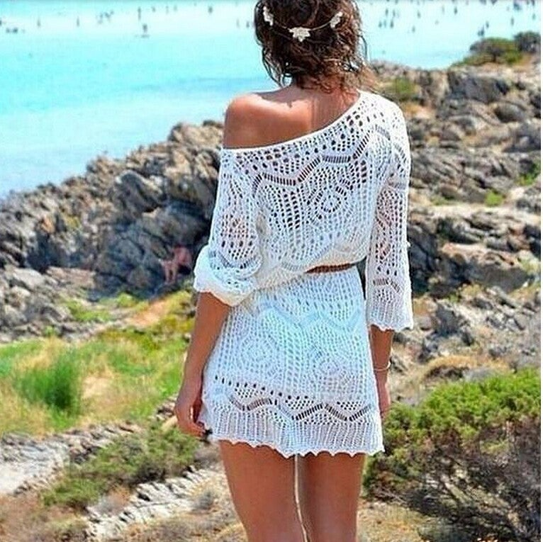 Image of BEACH DRESS LACE HOLLOW INCLINED SHOULDER SEXY DRESS