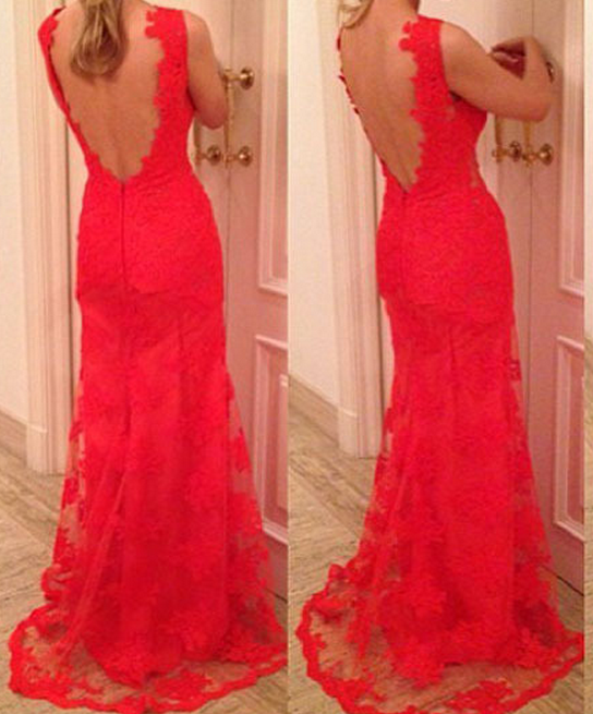 Image of FASHION HOT RED LACE LONG DEEP V DRESS