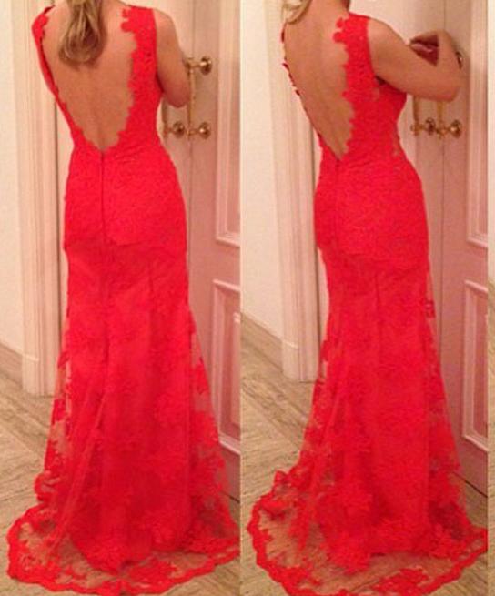Image of FASHION HOT RED LACE LONG DEEP V DRESS