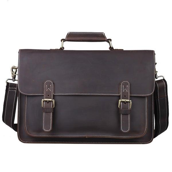 """Image of Vintage Handmade Antique Leather Briefcase Messenger 13"""" 15"""" MacBook 13"""" 14"""" 15"""" Laptop Bag (n29D)"""