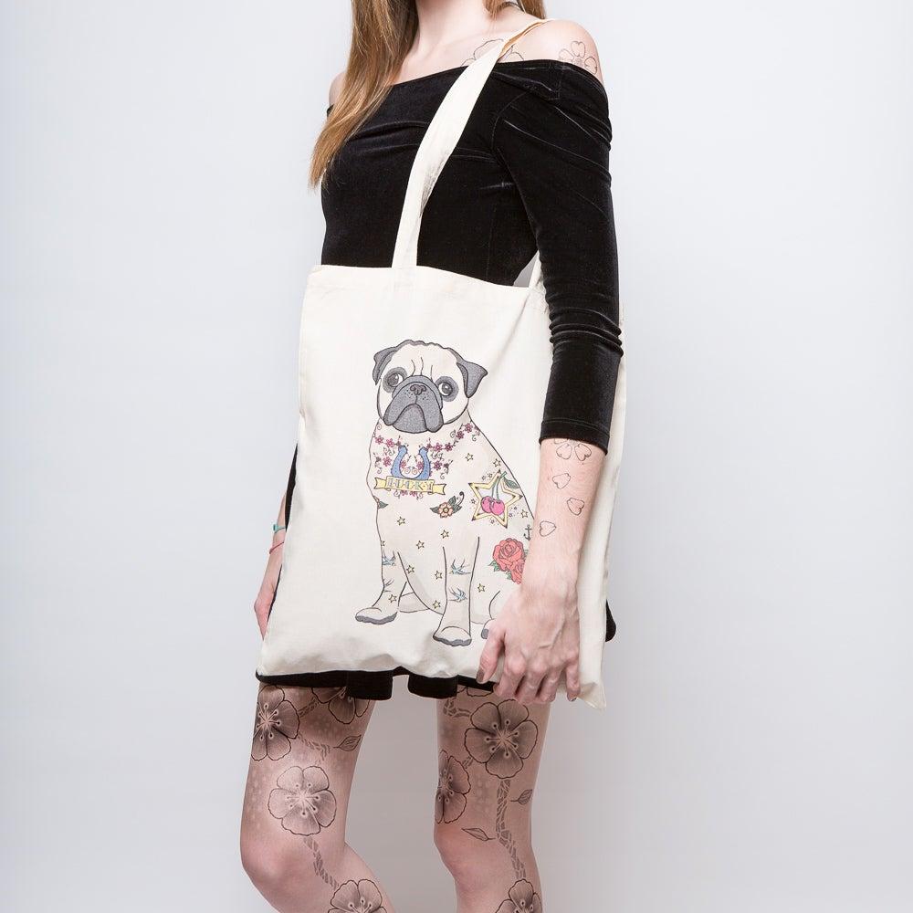 Image of Tattoo Pug Tote Bag
