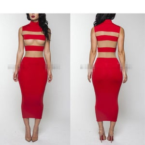 Image of Red Mesh Stripe Dress