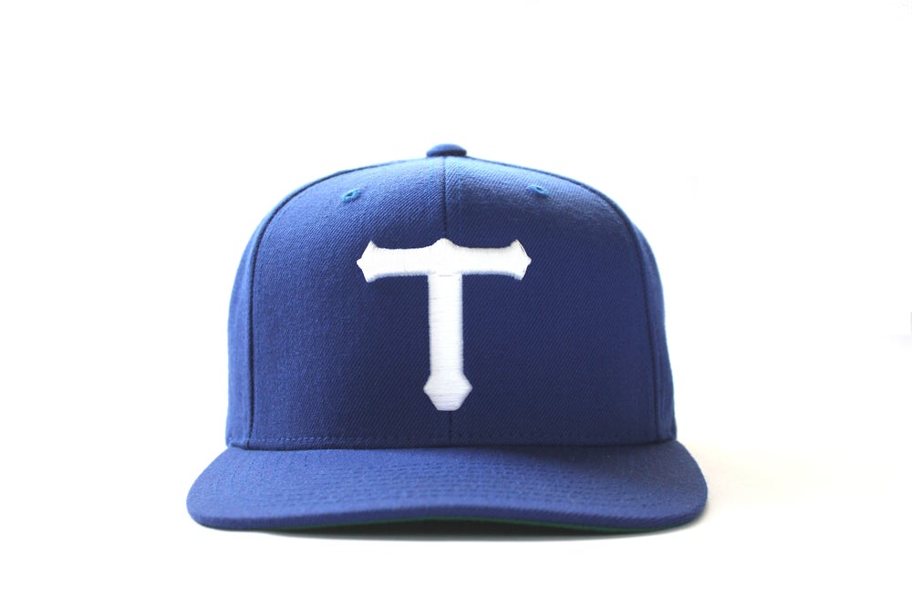 Image of BLUE BIG T HAT