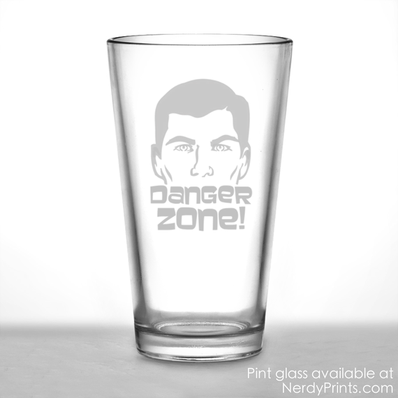Image of Archer Pint Glass - Danger Zone!