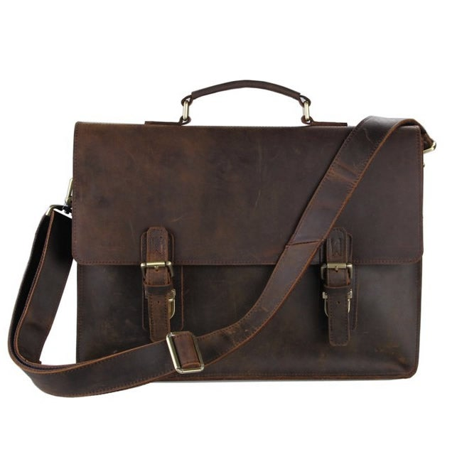 "Image of Vintage Handmade Antique Leather Briefcase / Messenger / 13"" 15"" MacBook 14"" 15"" Laptop Bag (n15L)"