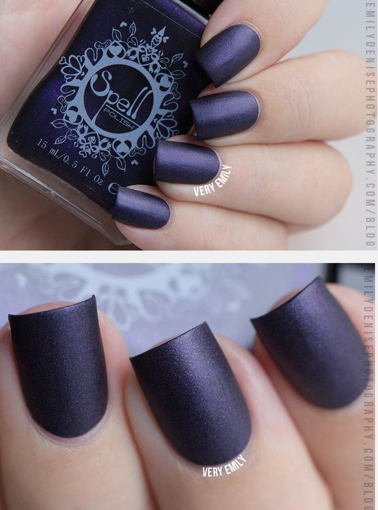 "Image of ~Wool of Bat~ Black-Violet Matte SPELL nail polish ""A Charm of Powerful Trouble""!"