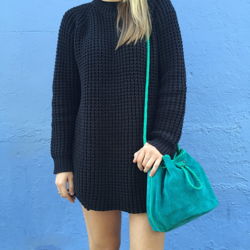 Image of Emerald Suede Bucket Bag