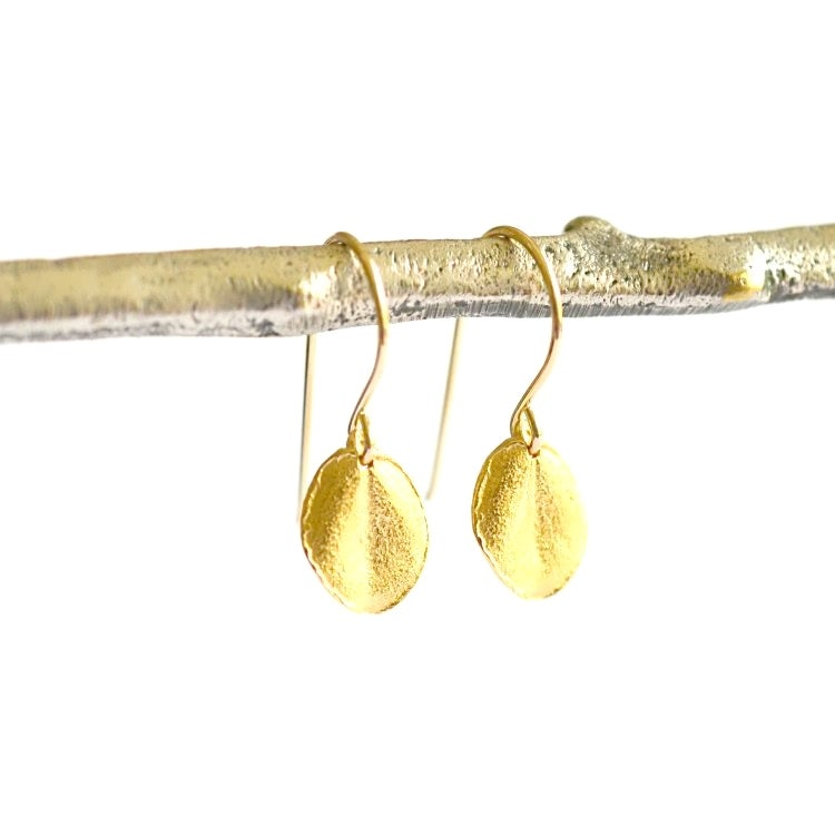 Image of Tiny Ohi'a leaf earrings gold