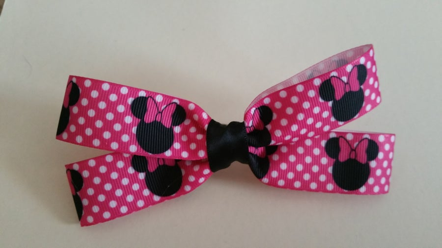 Image of Black and pink Minnie Mouse Hair Bow