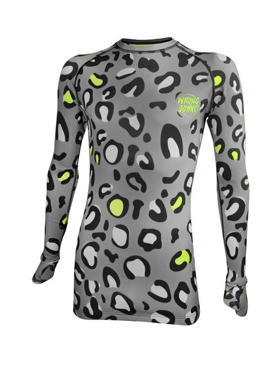 Image of Mens Grey Leopard Print Thermal Top