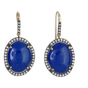 "Image of "" New "" Kara Ackerman <i> Alice Rose <i/> Cabachon Lapis Earrings"