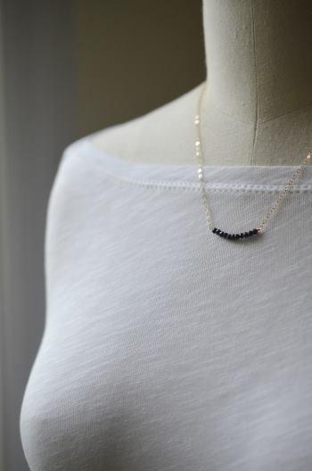 Image of Black spinel curve necklace