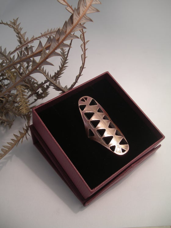 Image of LONG SHIELD RING:  BANKSIA CUT OUT