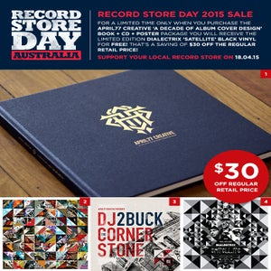 Image of A Decade Of Album Cover Design Book + CD + Poster + FREE Dialectrix Satellite Black Vinyl