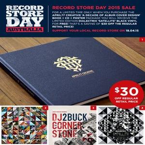 Image of A Decade Of Album Cover Design Book + CD + Poster + FREE Dialectrix Satellite Black Vinyl
