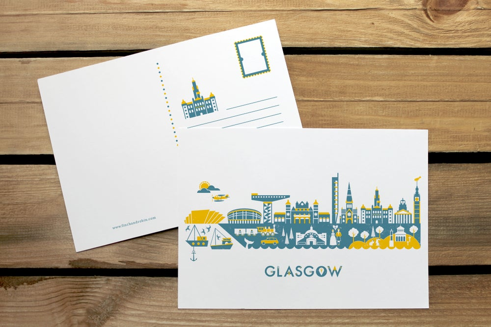 Image of Glasgow Skyline mini print or postcard