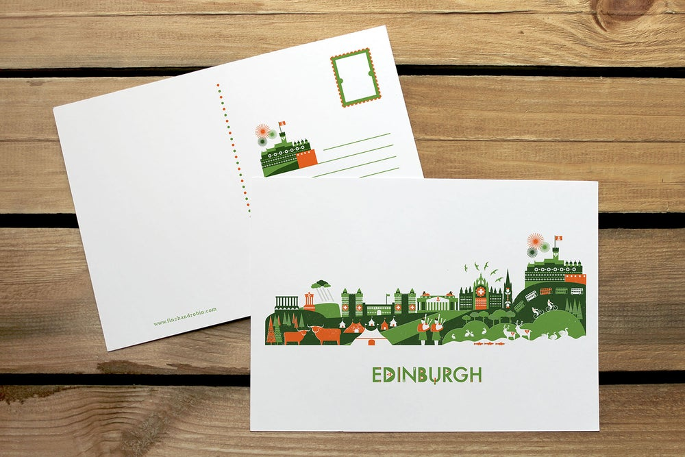 Image of Edinburgh Skyline mini print or postcard