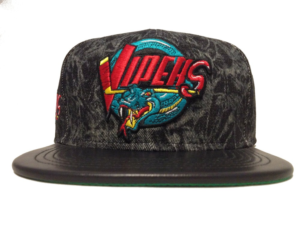 Image of Detroit Vipers IHL Black Acidwash Snapback Lambskin Bill