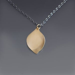 Image of 14k Gold Hydrangea Petal Pendant with Oxidized Sterling Chain