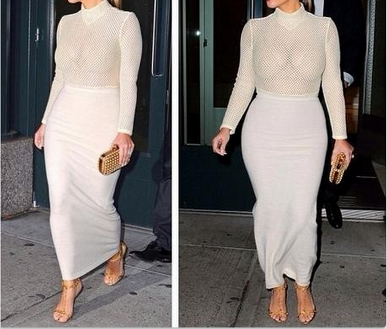 Image of HOLLOW OUT PERSPECTIVE SEXY DRESS LONG SLEEVE SPLICING DRESS
