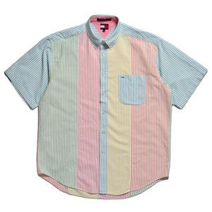 Image of 90s TOMMY HILFIGER CANDY STRIPE SHORT SLEEVE SHIRT