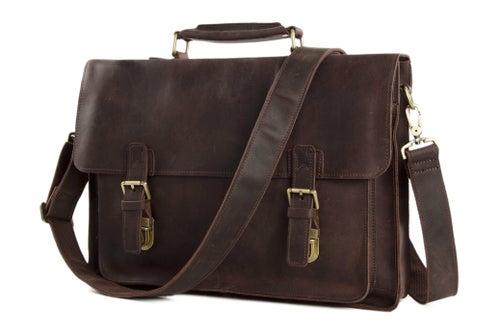 Image of 15'' Handmade Vintage Genuine Leather Briefcase Messenger Bag Laptop Bag Men's Handbag 7205