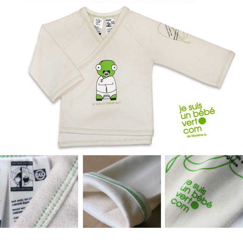 Image of Achetez : Kimono, coton biologique et équitable - Je suis un bébé vert