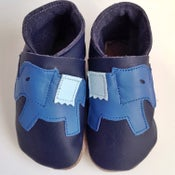 Image of Elephant Leather Baby Shoes in Blue