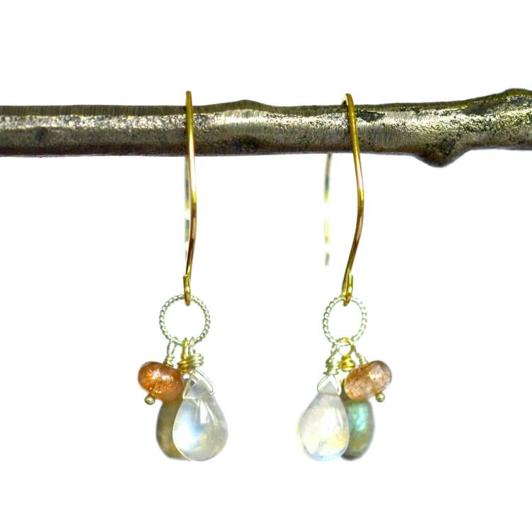 Image of Sunstone moonstone mixed metal earrings