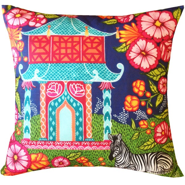 Image of Chinoiserie Garden Teal Pillow Cover