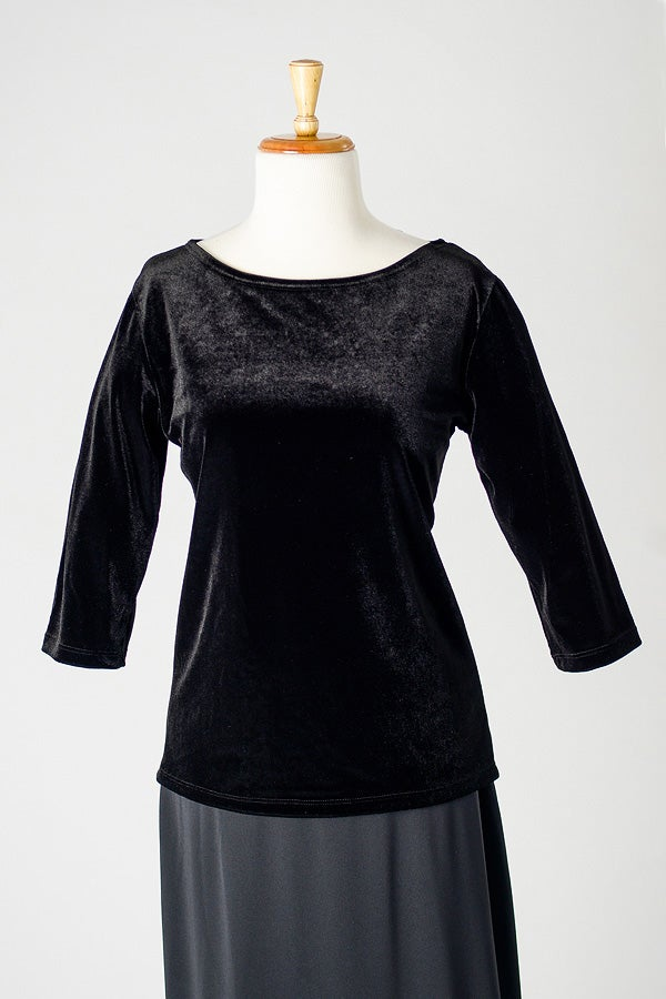 Image of Velvet Boat Neck Top