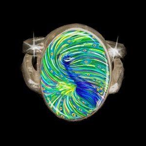 "Image of Peacock ""Bodhisattva Awakening"" Silver Energy Ring"