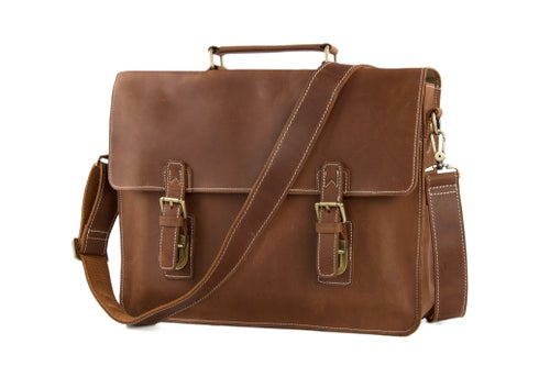 Image of Vintage Brown Leather Briefcase, Men Messenger Bag, Laptop Bag 7035B-1