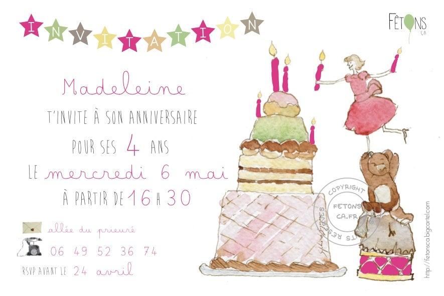 Carte d 39 invitation anniversaire fille g teau f tons a 2 0 - Anniversaire ado fille ...
