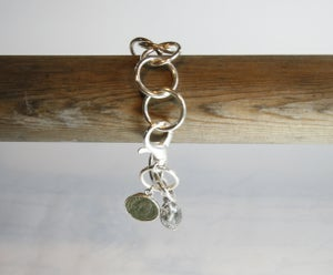 Image of Sterling Silver Chain Bracelet with Ancient Coin