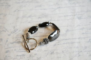Image of Faceted Smokey Quartz and Sterling Silver Bracelet