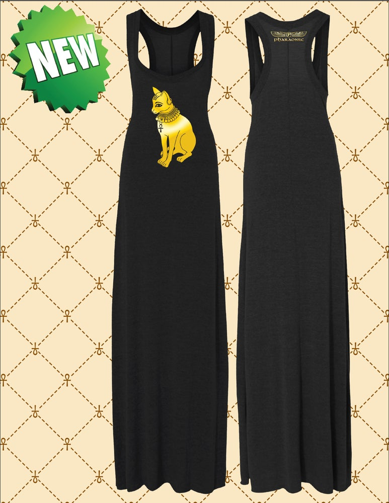 Image of WOMEN'S GOLD FOIL BASTET MAXI DRESS