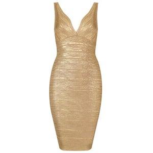 Image of Gold Metallic Bandage Dress