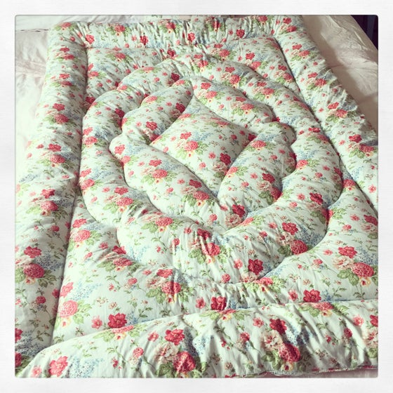 Image of Beautiful duck egg blue and floral vintage eiderdown