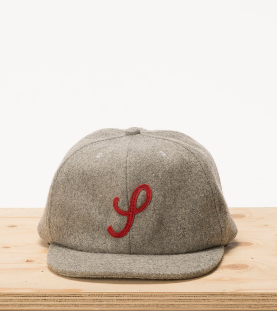Image of Cloud Grey & Red Wool 6 Panel Cap
