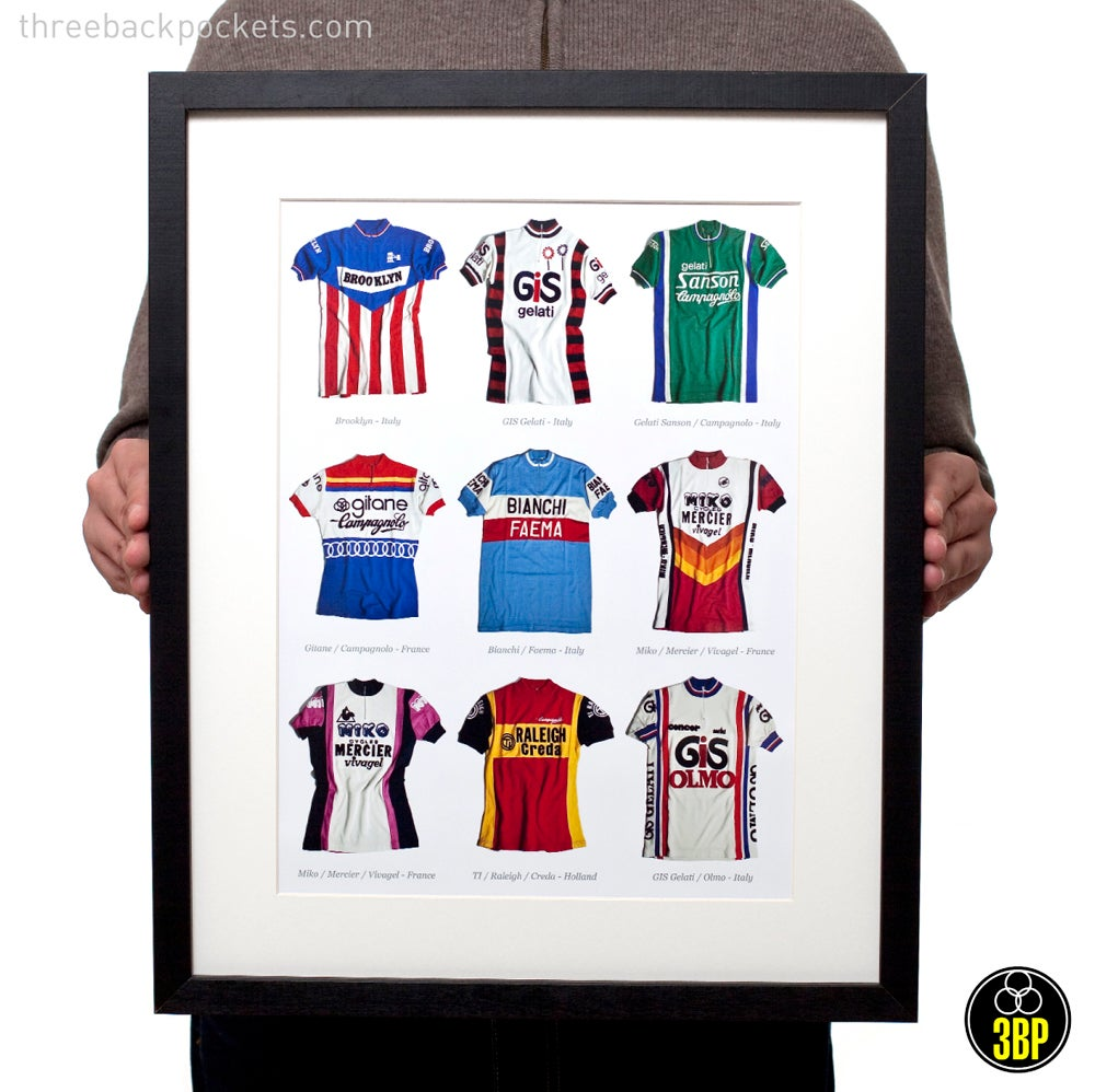 Nine Iconic Cycling Jerseys Print Three Back Pockets