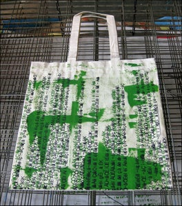 """Image of MJL """"Abstract Green Gibberish"""" Tote Bag One-Of-A-Kind"""