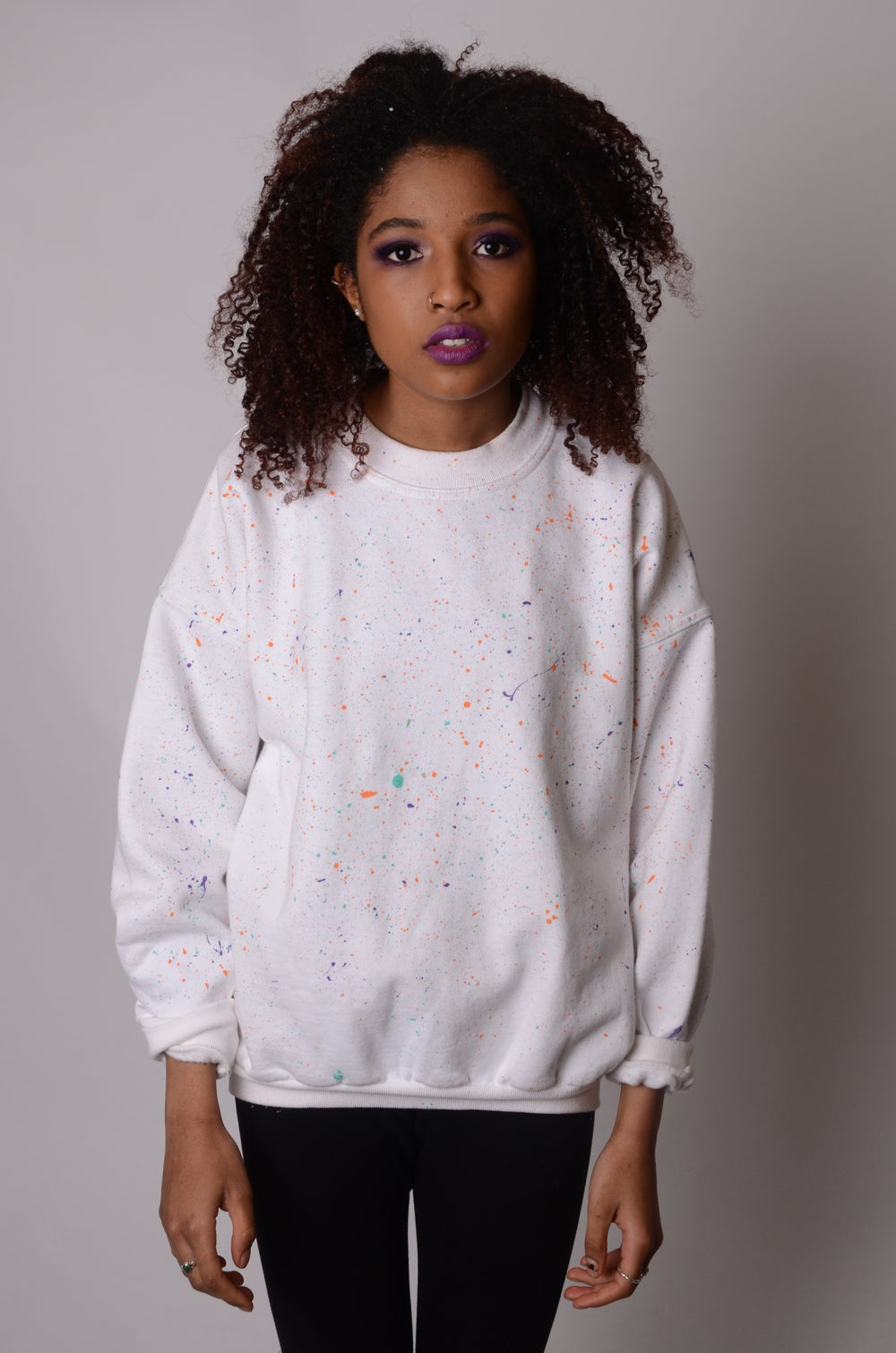 Image of SALE Nebula Unisex white splatter crewneck Sweatshirt