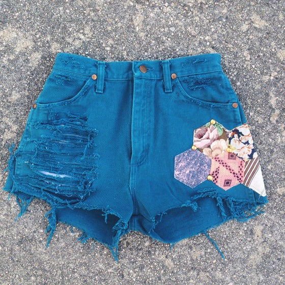 Image of Valley Festival Shorts - Teal Denim