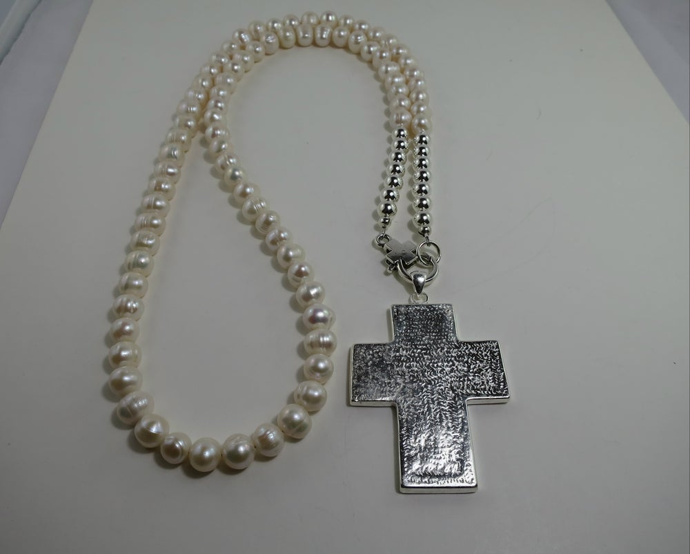 Image of N015 Freshwater pearl necklace with cross