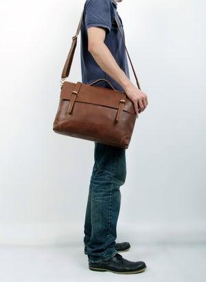 "Image of Handmade Genuine Leather Briefcase / Messenger / 14"" Laptop 13"" MacBook Bag (n3610)"