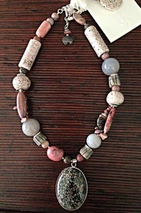 Image of Rhodonite, agate necklace set