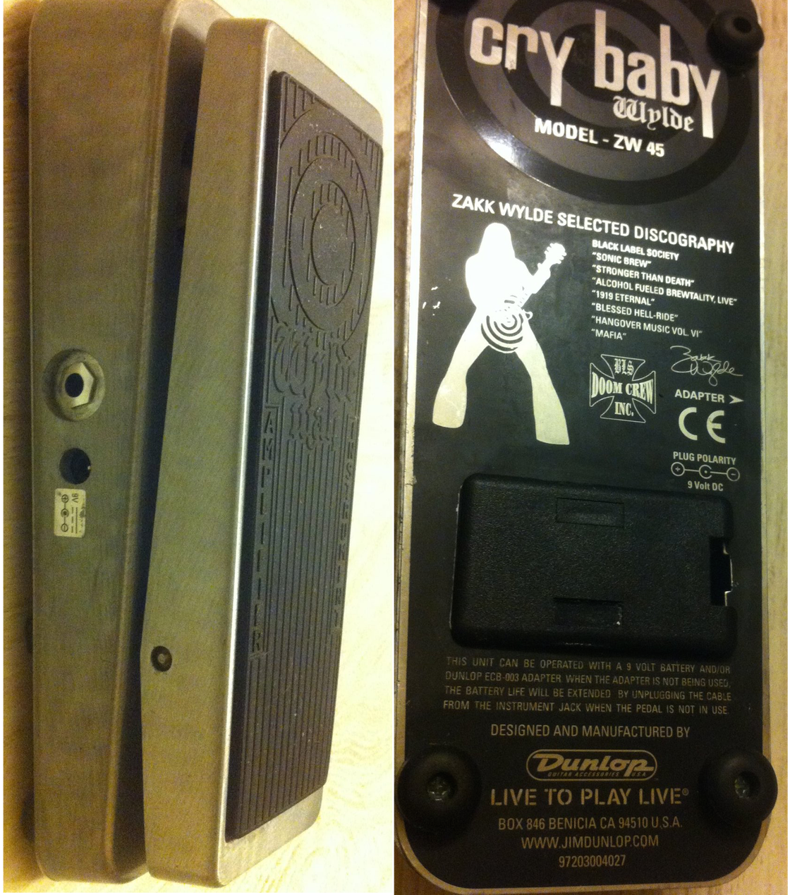 Image of Dunlop ZW-45 Zakk Wylde Signature Cry Baby / Wah Pedal